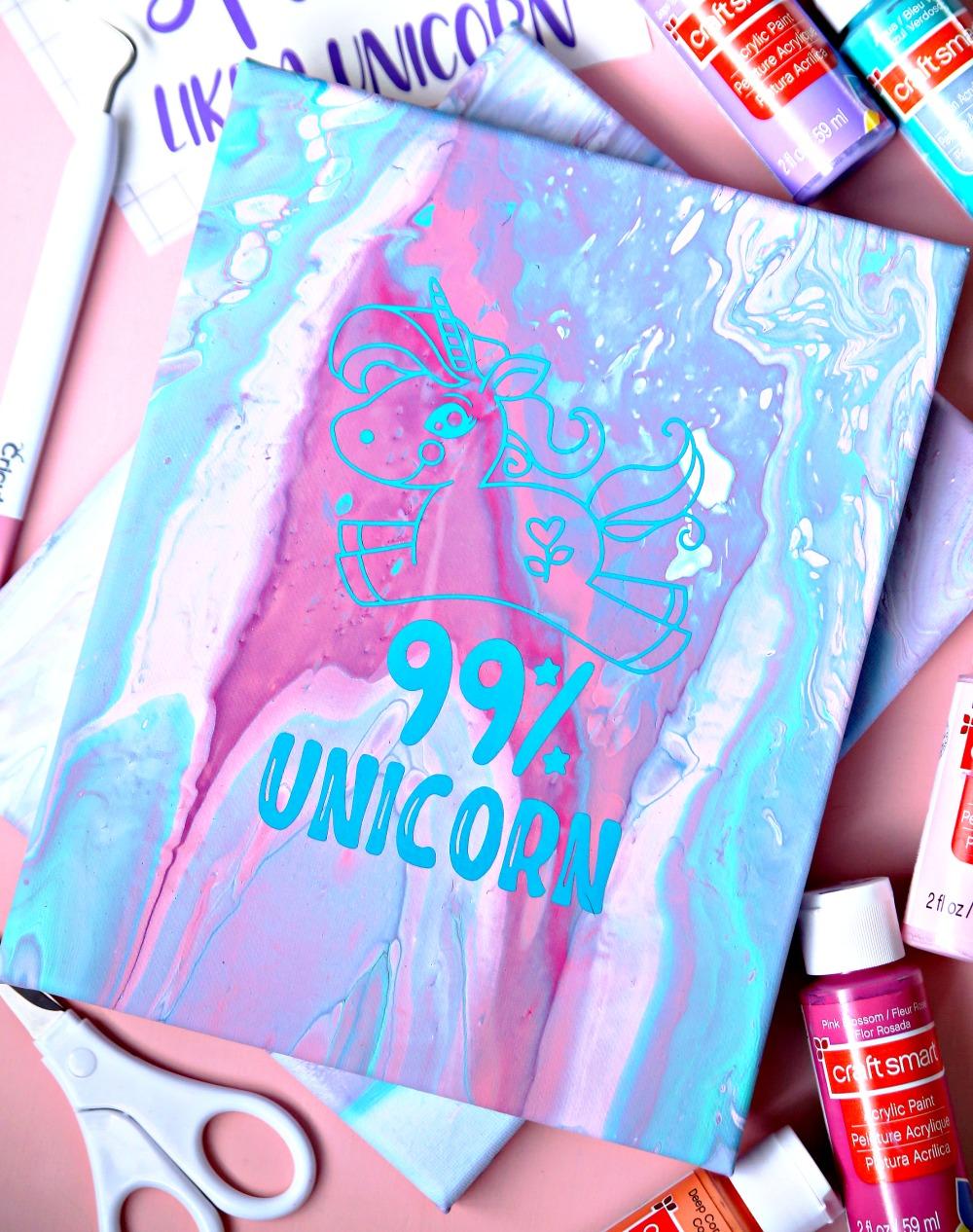 Poured Canvas with Unicorn Vinyl