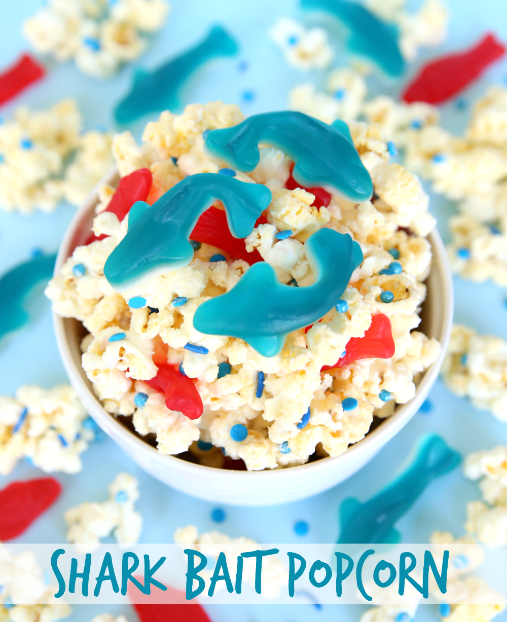 Celebrate Shark Week with Shark Bait Popcorn! Plus, what's not to love about popcorn coated with white chocolate and mixed with candy?