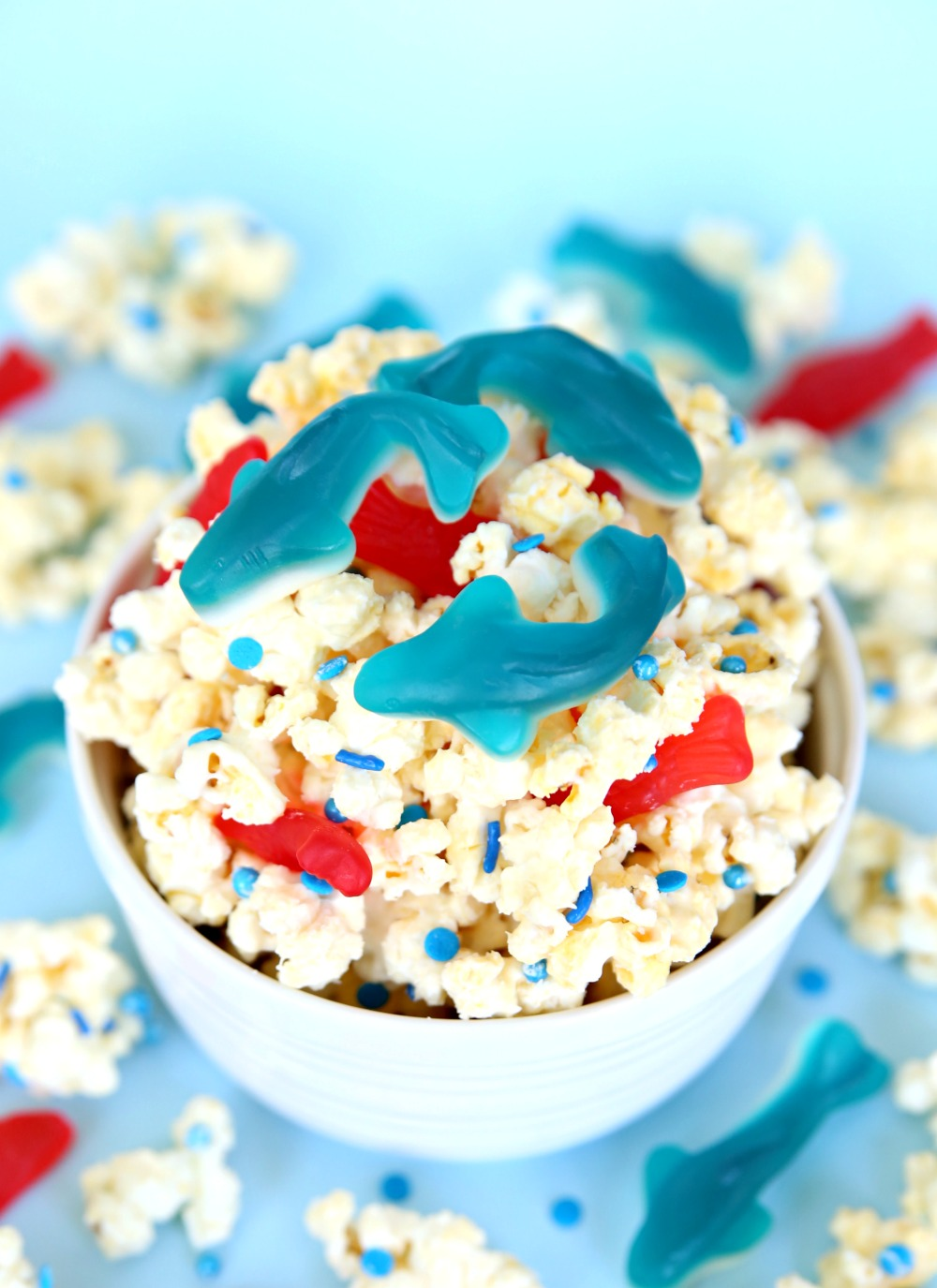 Celebrate Shark Week with Shark Bait Popcorn! A sweet and salty treat perfect for Shark Week.