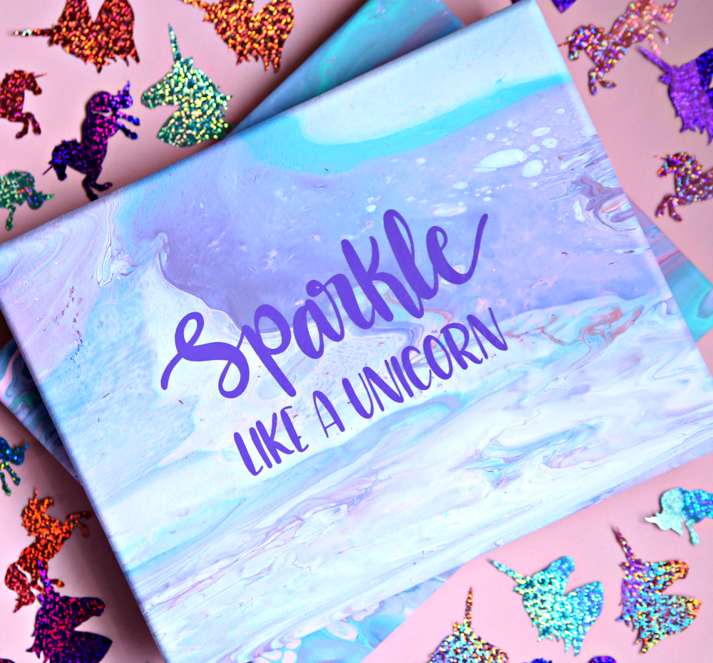 Sparkle Like a Unicorn - Poured Paint Canvas
