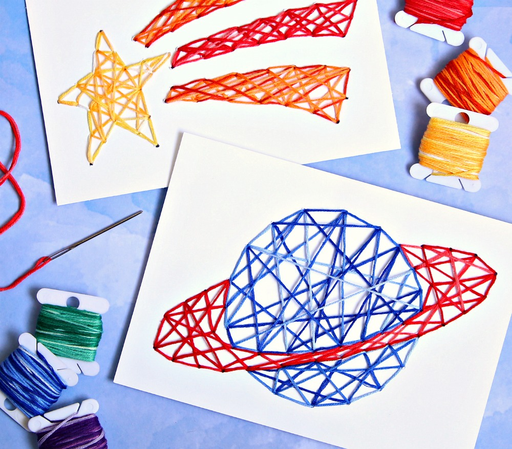 Stitched String Art Kids Craft Cricut Craft