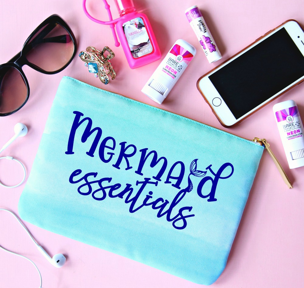 Mermaid Essentials Bag perfect for holding all your small items when headed to the beach and pool this summer.