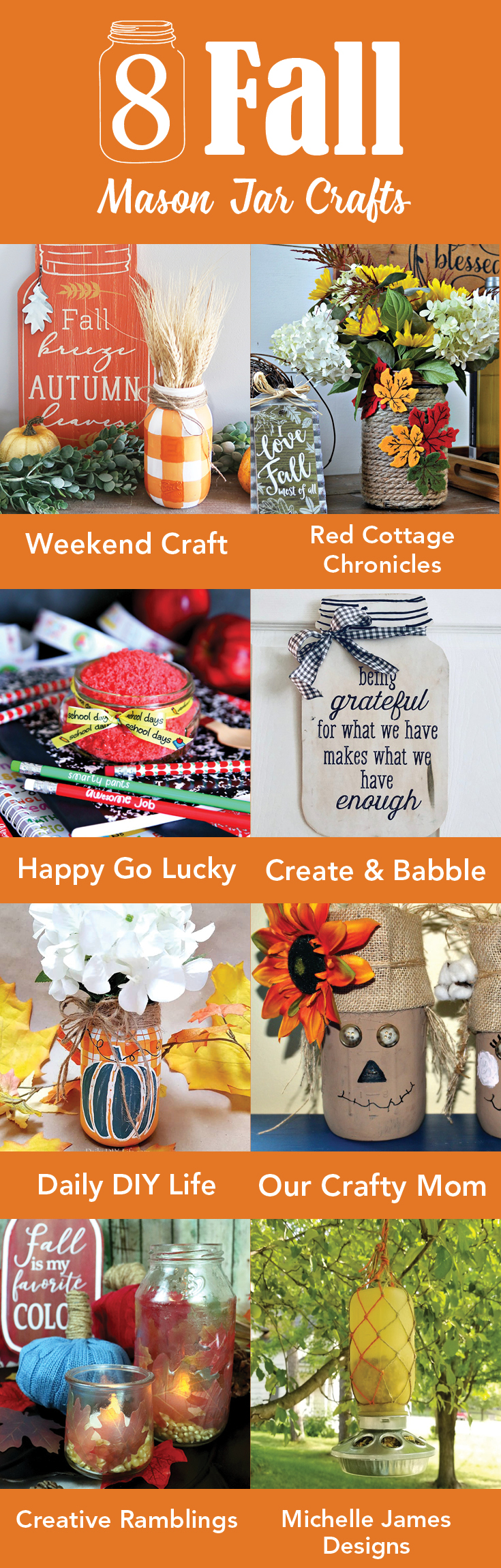 8 Fall Mason jar crafts