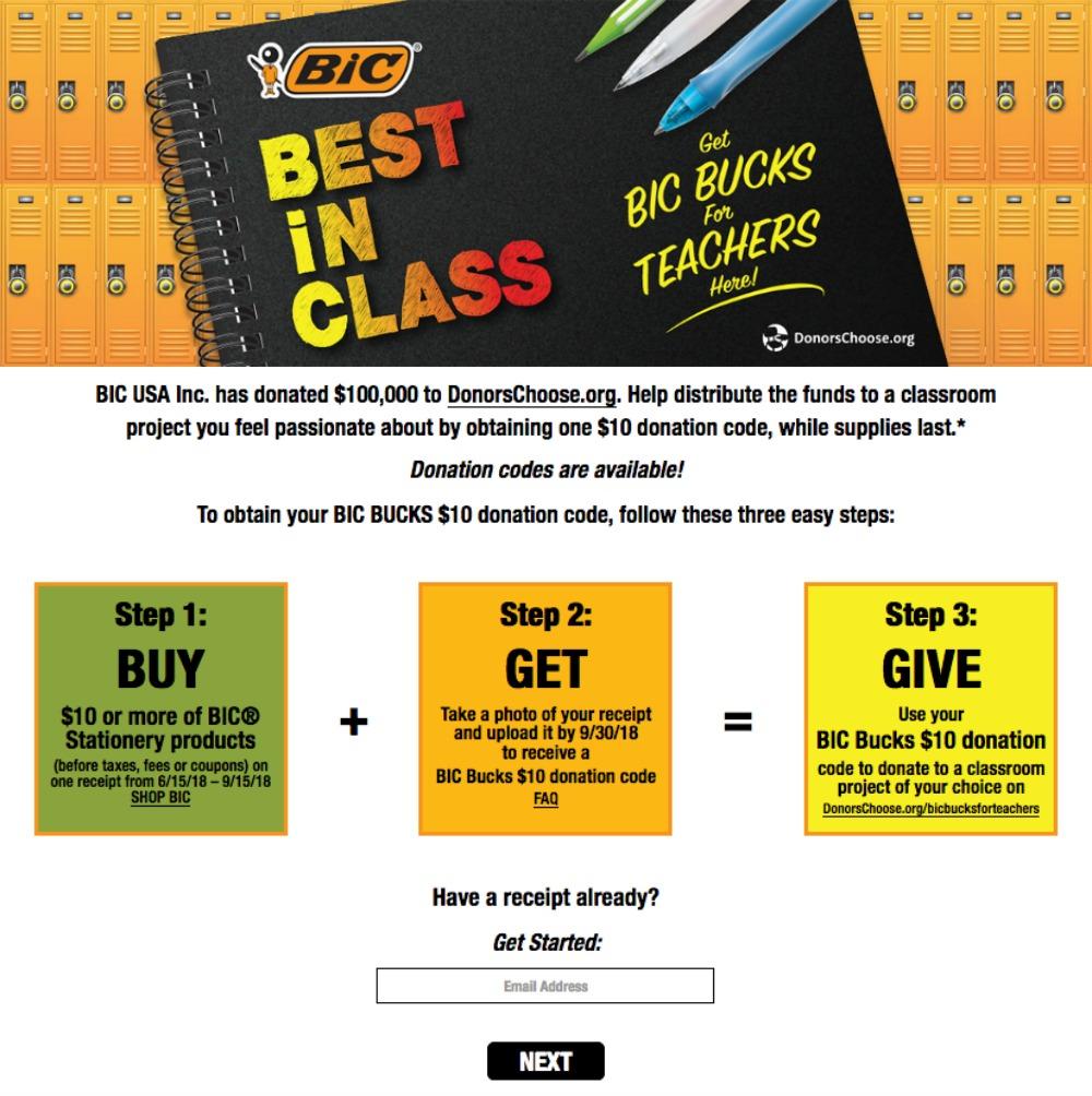BIC Bucks for Teachers