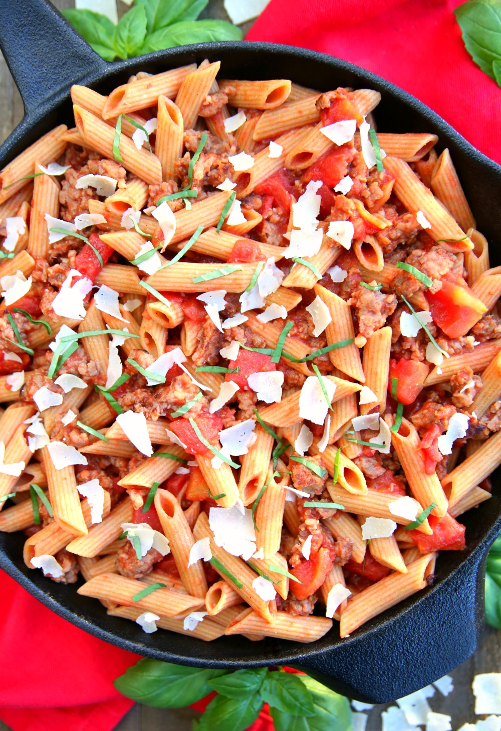 Italian Sausage Skillet Meal - A delicious one skillet meal that comes together in less than 30 minutes and only calls for 6 ingredients.