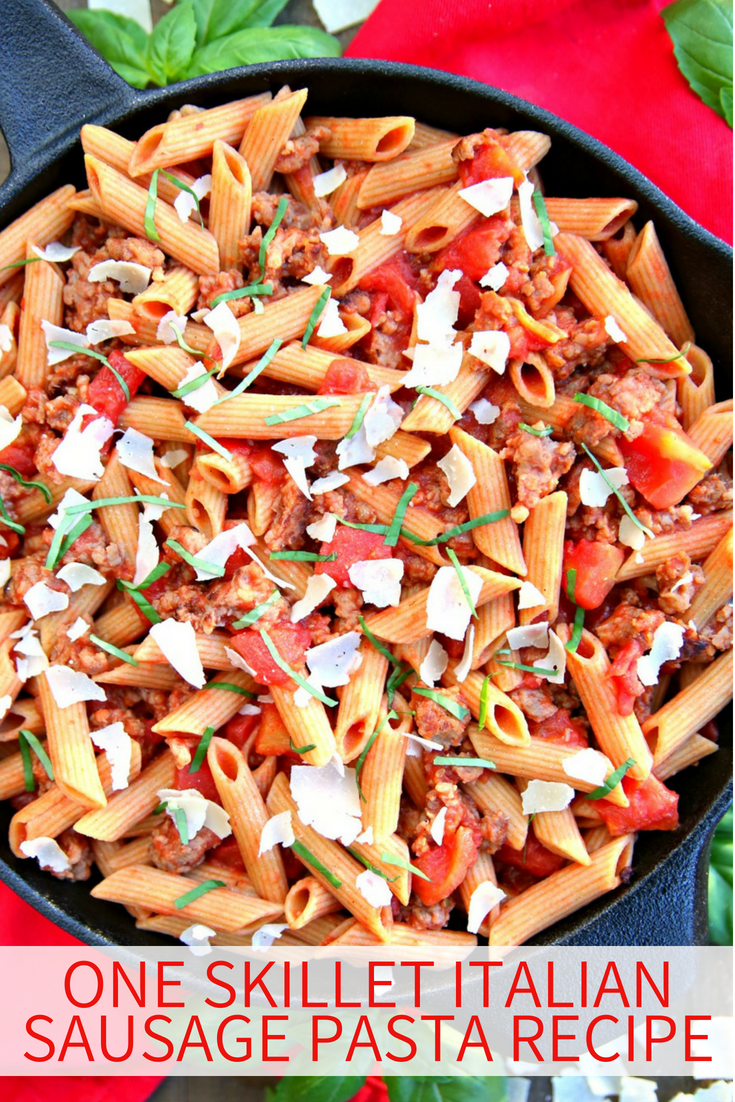 This One Skillet Italian Sausage Pasta Recipe is a delicious one pot meal that comes together in less than 30 minutes and only calls for 5 ingredients. Dinner doesn't get any easier than this! An easy one pot meal and 5 ingredient dinner the entire family will love!