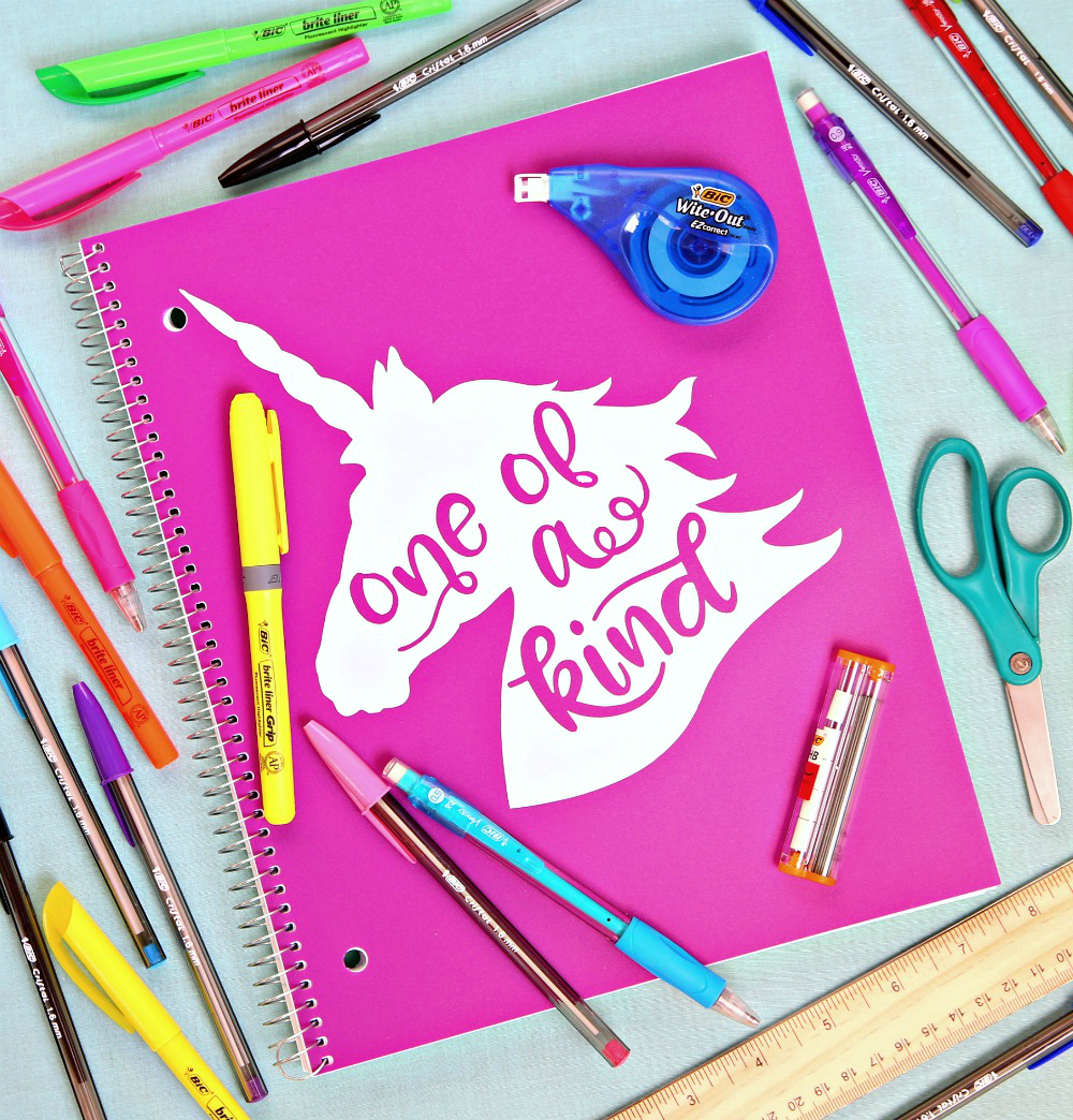 Unicorn SVG Cut File - Decorate your school supplies and more with this free Unicorn SVG Cut File