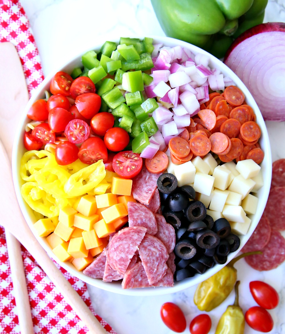 Pizza Pasta Salad Ingredients in Bowl