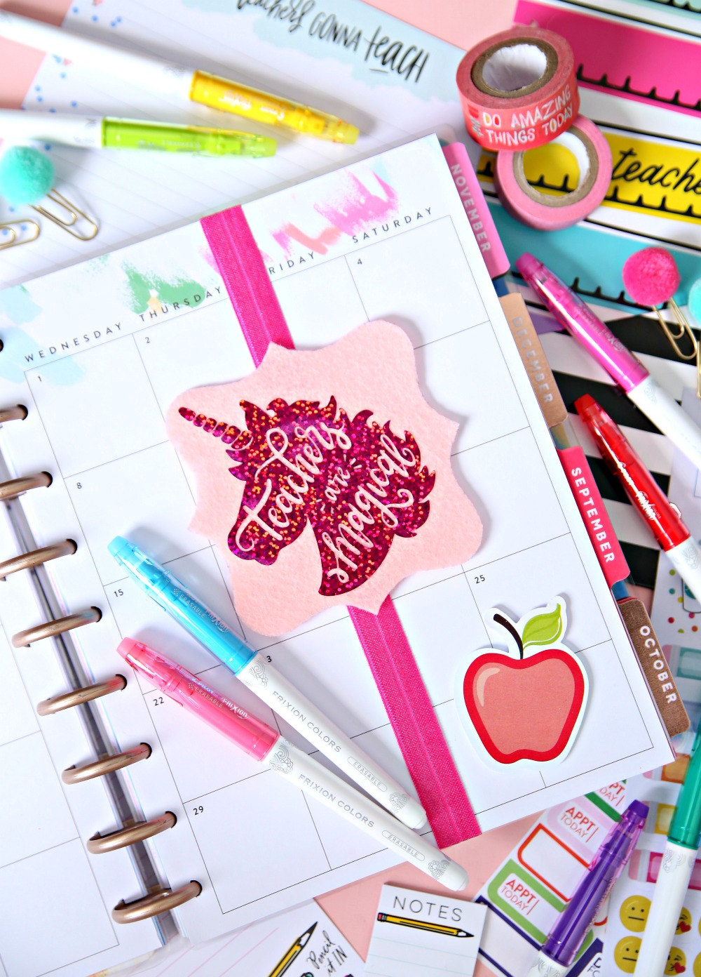 Planner Bookmarks Unicorn - Elastic Bookmarks - Every teacher needs a planner and now they can add these cute Planner Bookmarks to make it extra special!