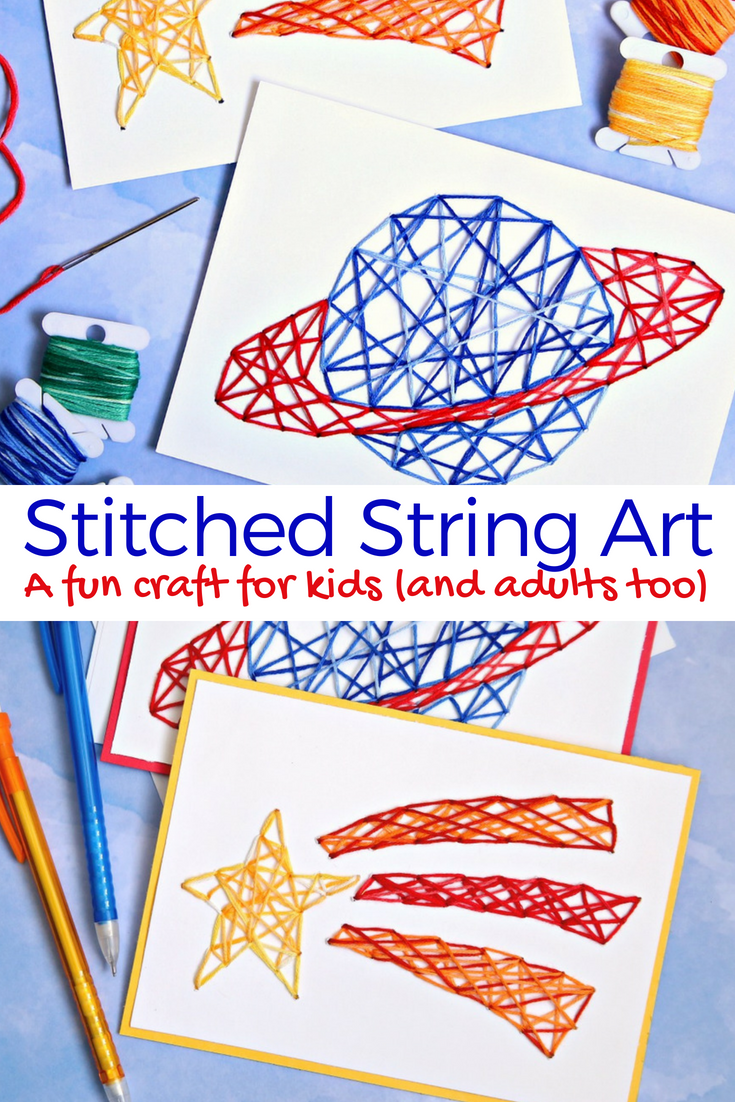 Stitched String Art - A fun craft for kids - Cricut Craft for Kids