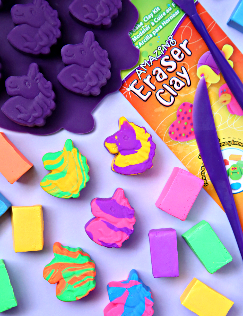 Make these easy DIY Unicorn Erasers with Eraser Clay and unicorn molds.