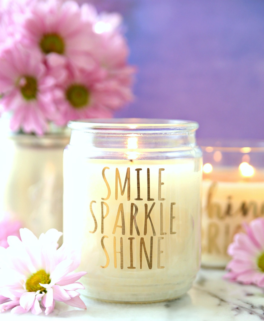 Smile Sparkle Shine Candle - Easy DIY Inspirational candles make a fun gift and great home decor