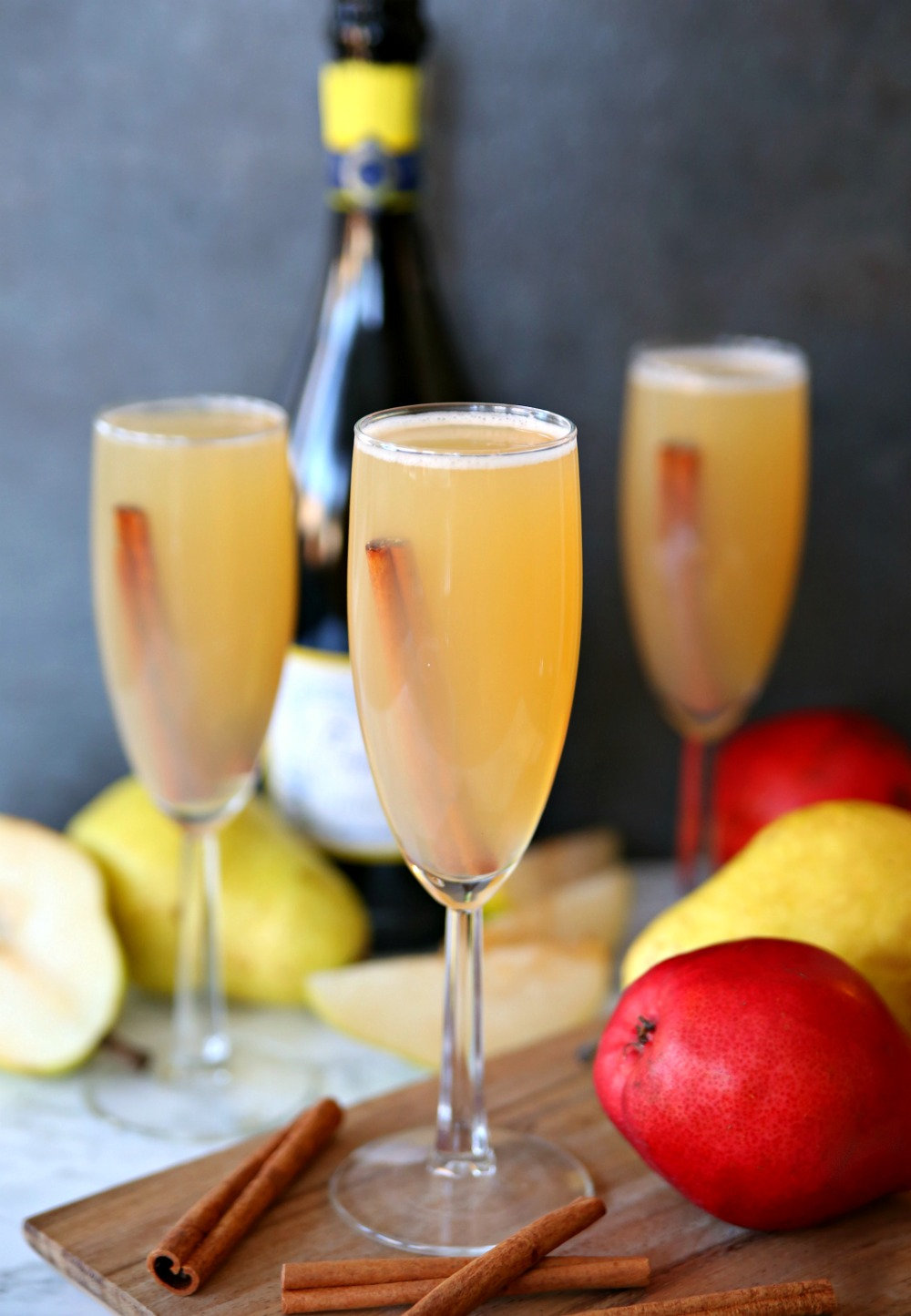 Spiced Pear Bellinis - The Perfect fall cocktail!