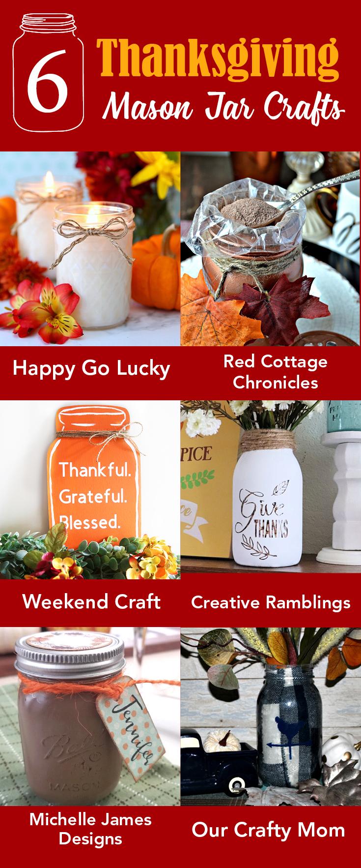 6 Thanksgiving Mason Jar Crafts