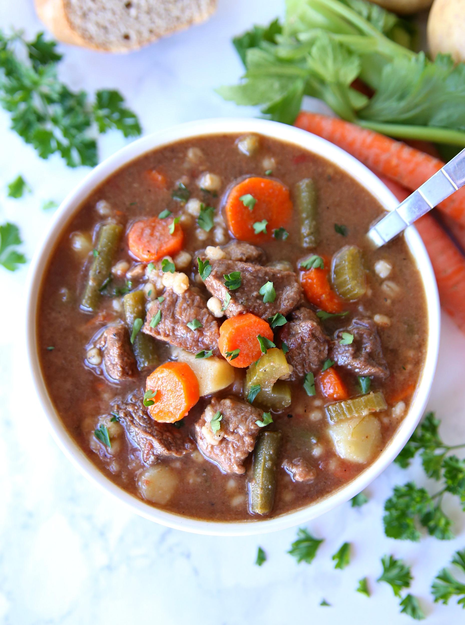Beef Barley Vegetable Soup in bowl