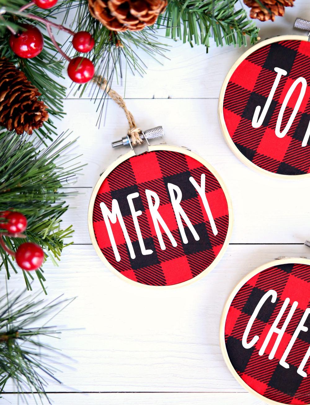 Buffalo Check Christmas Ornaments.Buffalo Check Christmas Ornaments Happy Go Lucky