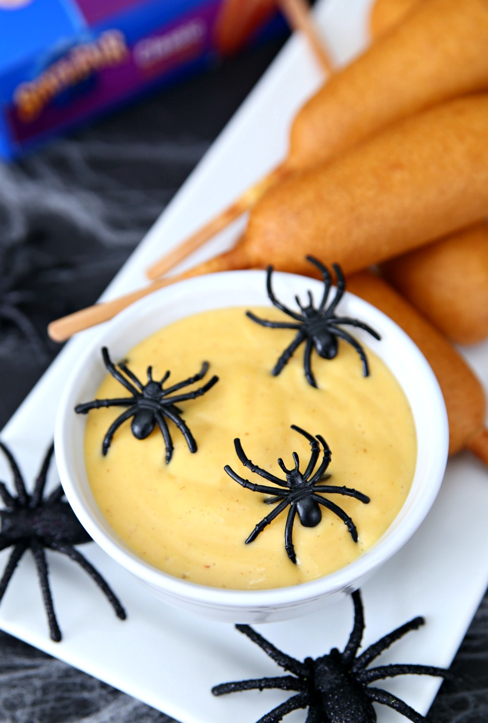 Creepy Honey Mustard Dipping Sauce with Corn Dogs - A creepy and fun Halloween appetizer idea!