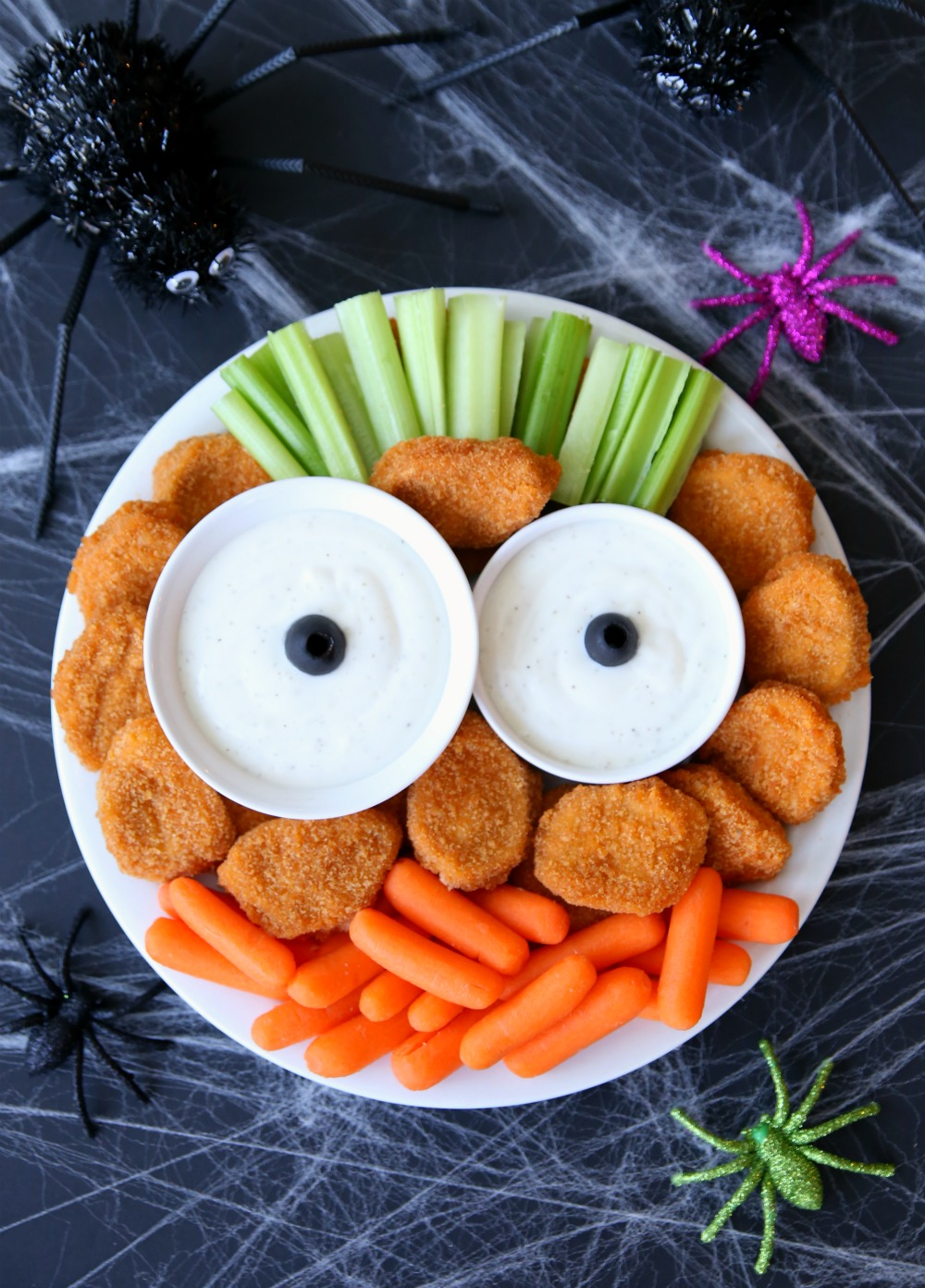 Monster Chicken Nuggets Platter Tray - A fun Halloween appetizer tray!