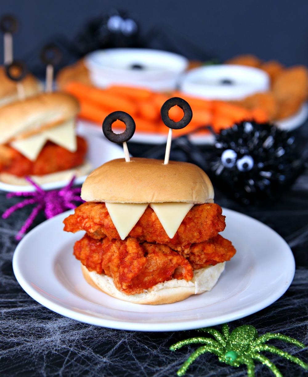 Monster Chicken Sandwiches - Halloween appetizers and dinner ideas