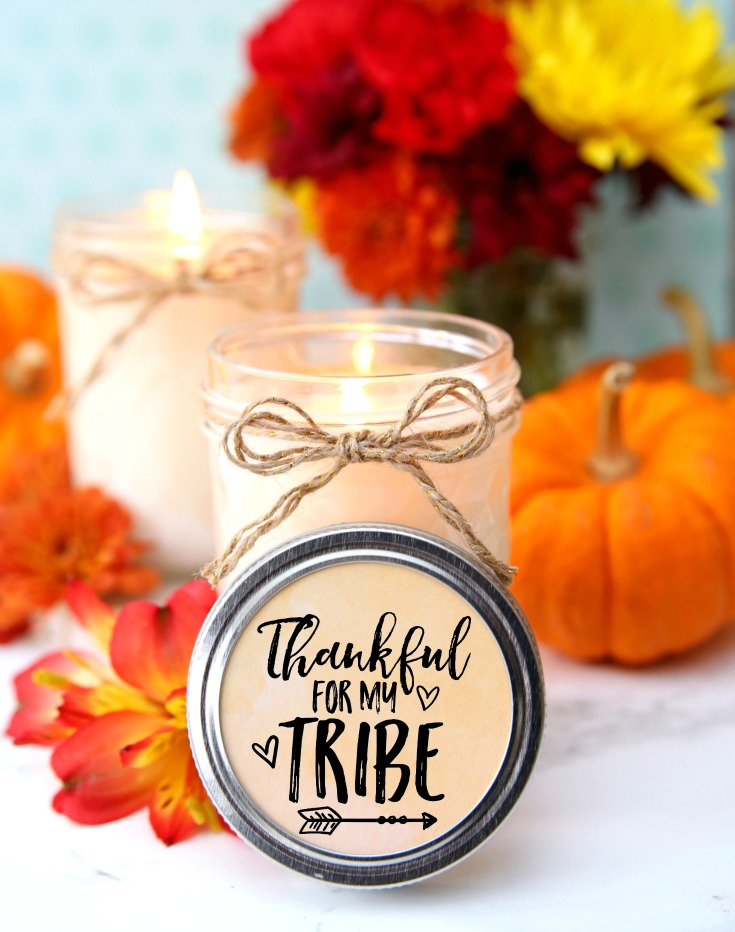 Thankful for my Tribe Candle Labels