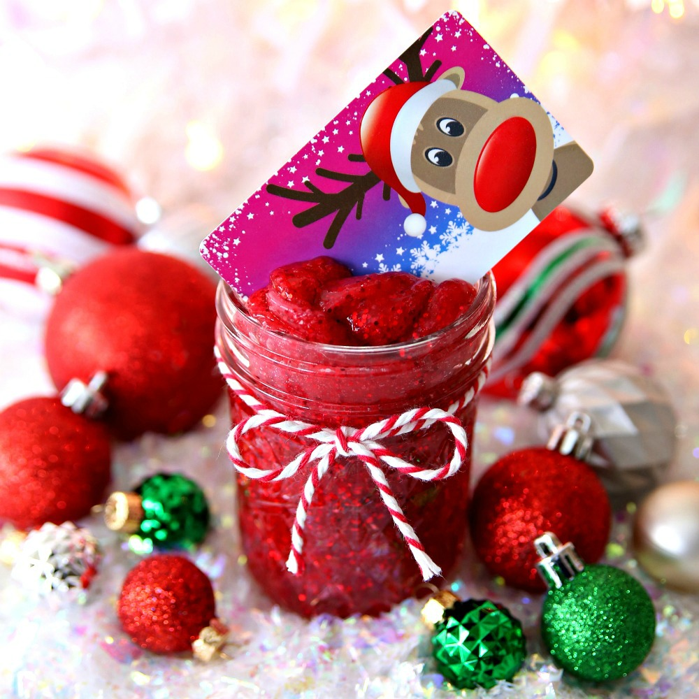 Christmas Slime.Mason Jar Holiday Gift Card Holder With Slime Happy Go Lucky
