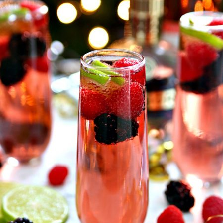 Berry Champagne Punch New Year's Eve Cocktail