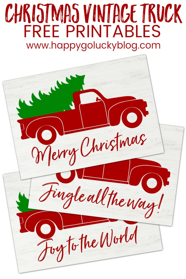 Christmas Vintage Truck Free Printables