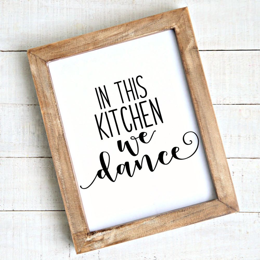 In this Kitchen We Dance Free Printable in frame