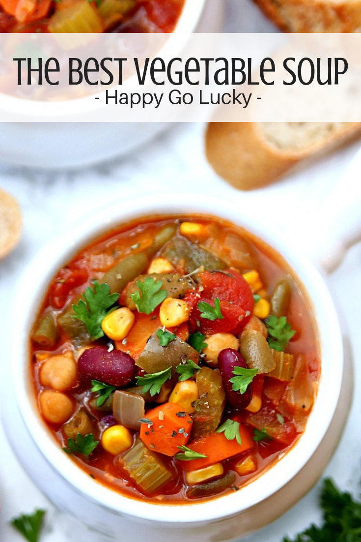 A hearty Vegetable Soup that's packed full of vegetables!  There's nothing better than a warm bowl of soup on a chilly winter day and this hearty vegetable soup recipe is the best!