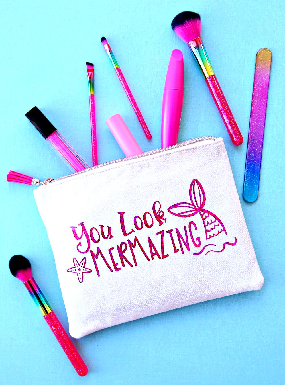 You Look Mermazing Makeup Bag with Free Mermaid SVG Cut File