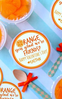 Orange You Glad We're Friends Valentine's Day Free Printable taped to mandarin orange cups