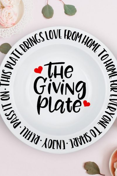 The Giving Plate SVG Cut File on Plate