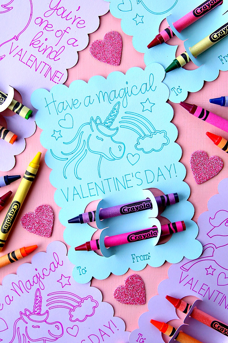 Have a Magical Valentine's Day - Unicorn Valentine's Day Coloring Card on blue cardstock