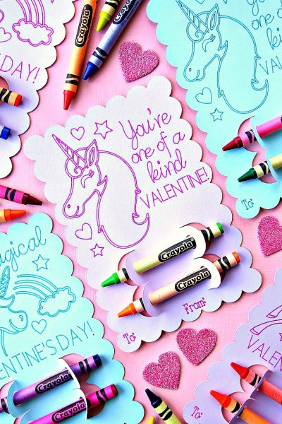 Unicorn Valentine's Day Coloring Cards You're One of a Kind Valentine