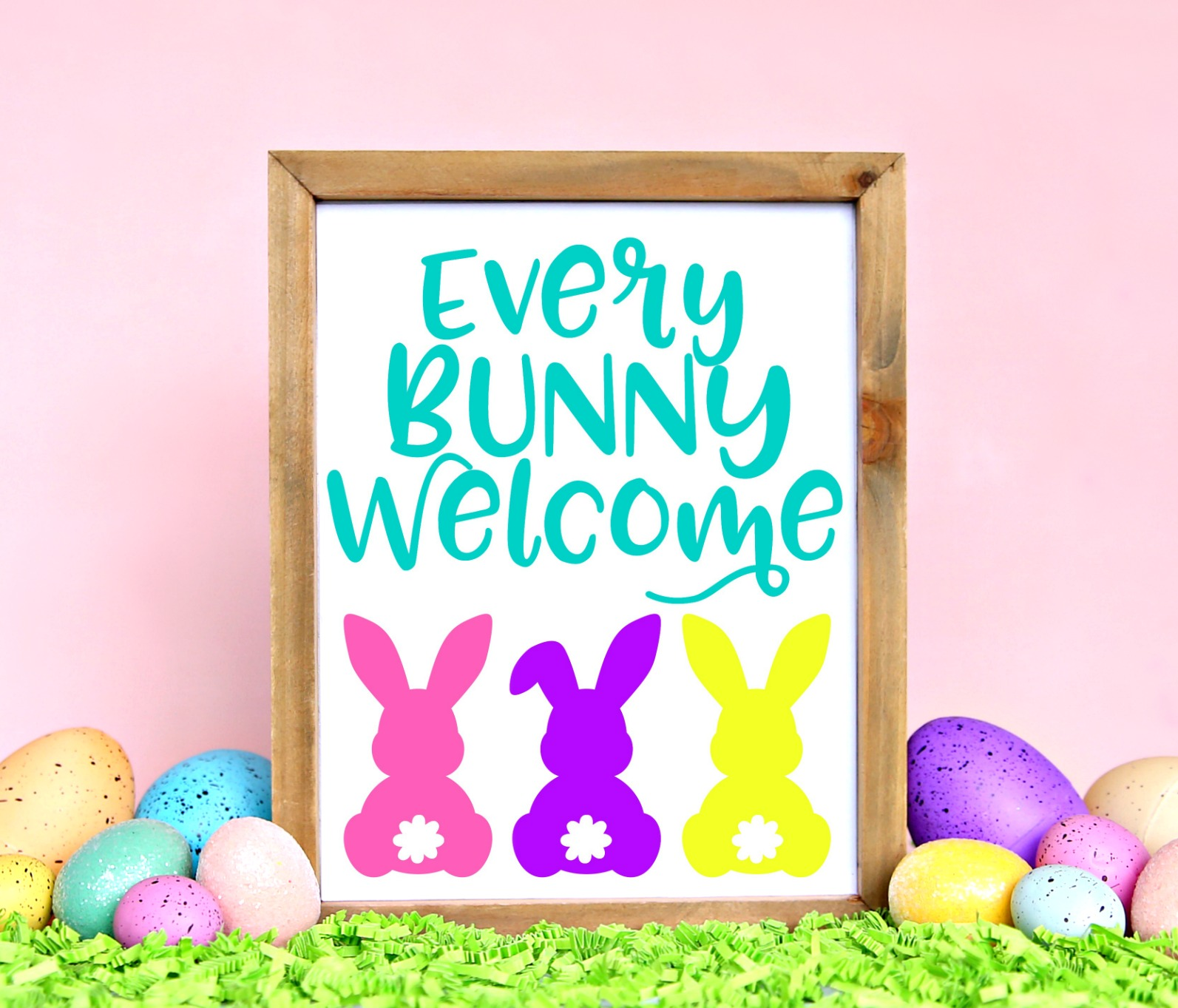 Every Bunny Welcome free printable in wood frame