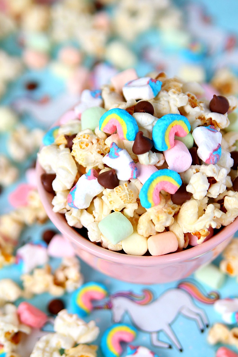 A magical Unicorn Snack Mix full of kettle corn, marshmallows, and chocolate chips.