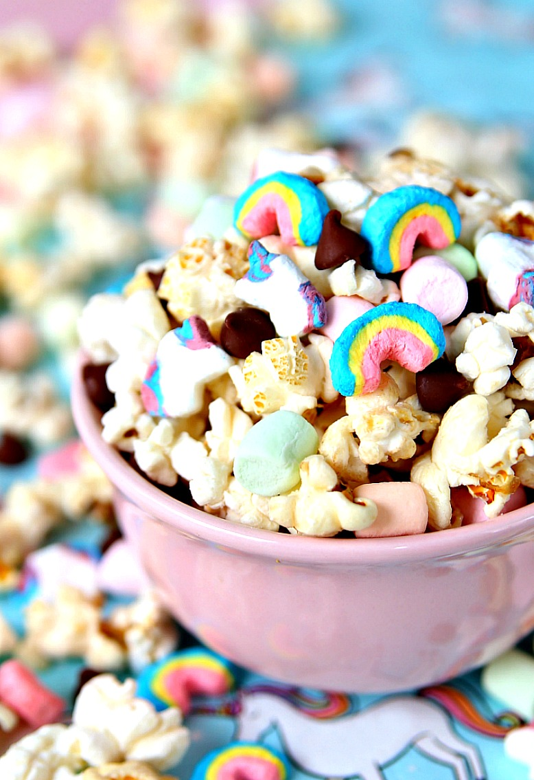 Unicorn Snack MIx with kettle corn, marshmallows, and chocolate chips in pink bowl