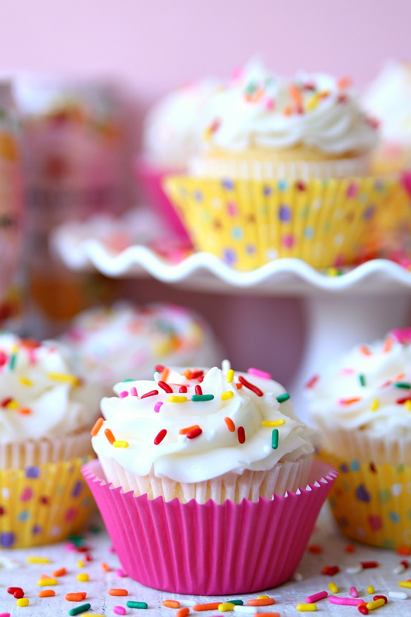 Two-Ingredient Cupcakes made with cake mix and sparkling water.