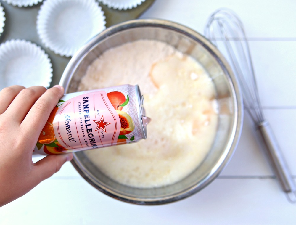 Cake mix and sparkling water make the easiest two-ingredient cupcakes.