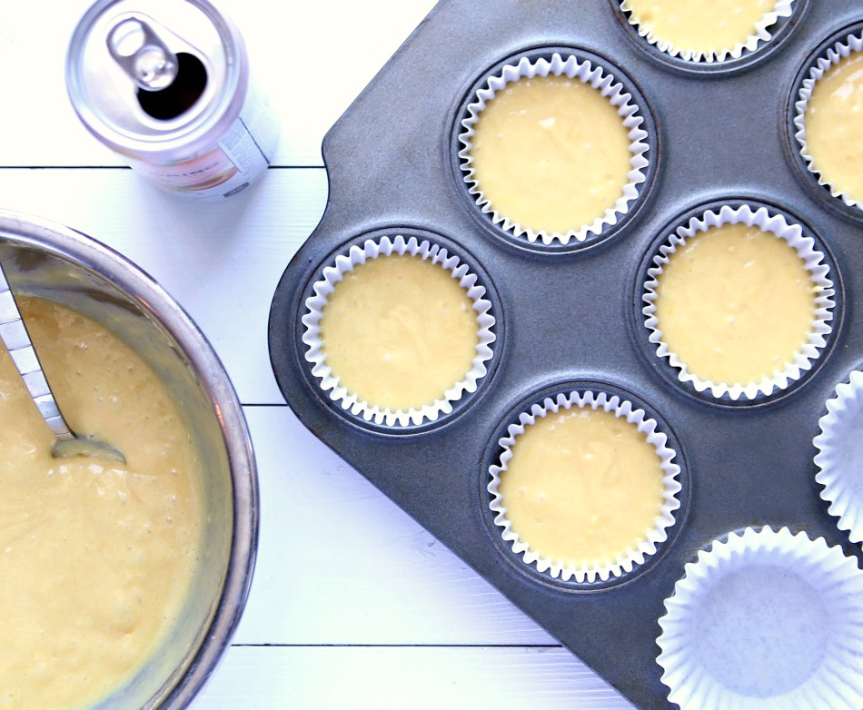 Cake mix and sparkling water are combined to make two-ingredient cupcakes.