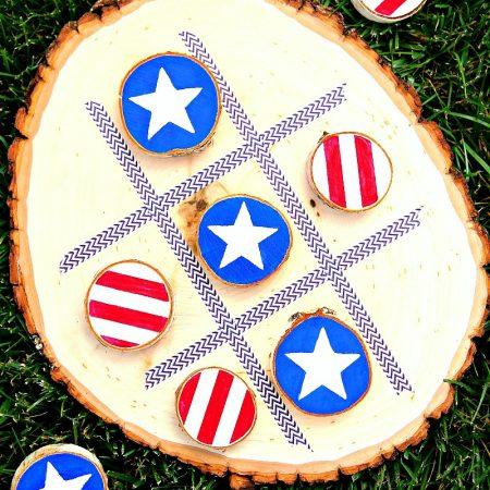 DIY 4th of July Tic Tac Toe Board Game