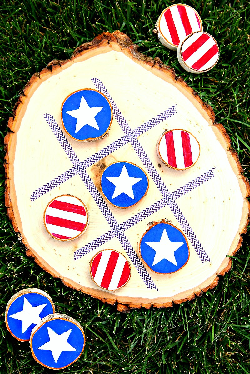 DIY 4th of July Tic Tac Toe Board Game
