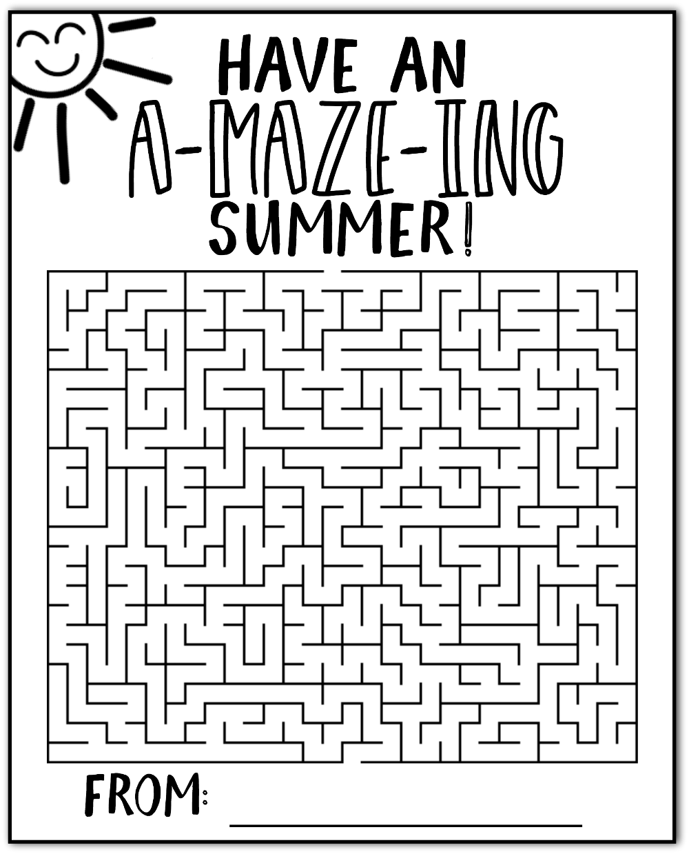 image relating to Summer Printable referred to as Incorporate an Outstanding Summertime Maze Playing cards Cost-free Printable - Satisfied-Move