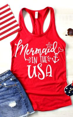 Mermaid in the USA T-Shirt Mockup