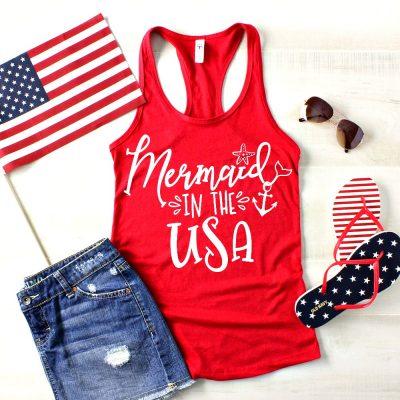 Mermaid in the USA T-Shirt Mockup