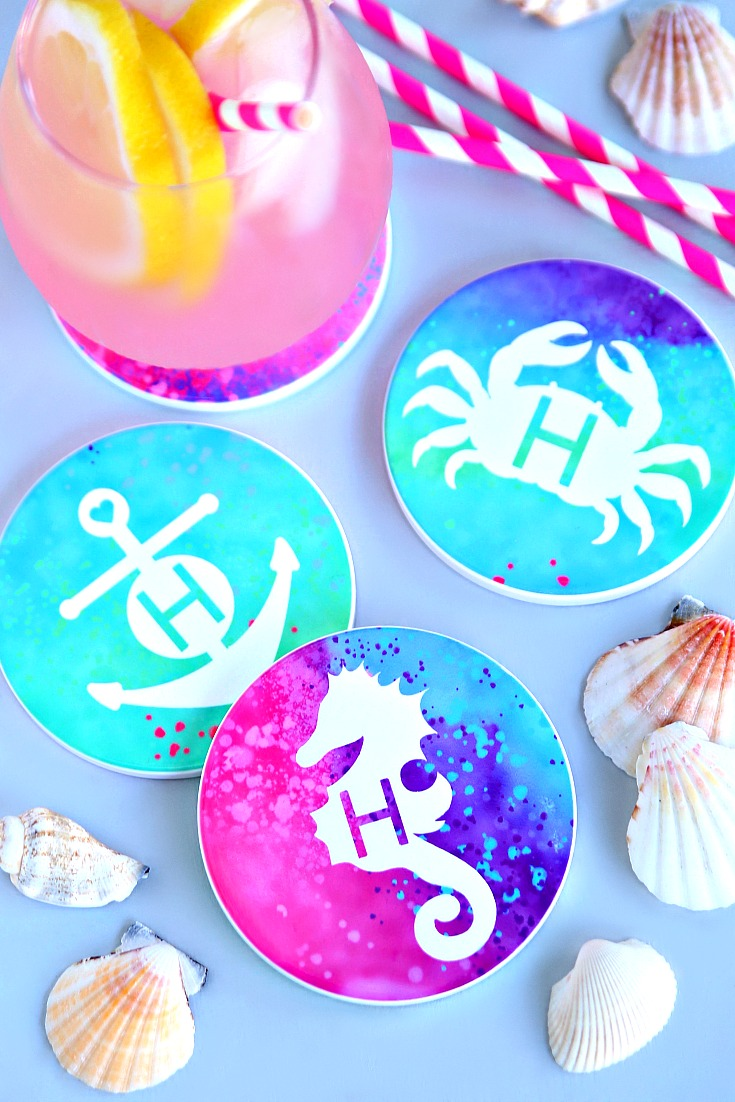 Personalized Beach Coasters using Infusible Ink