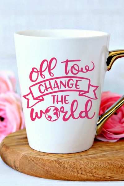 Off to Change the World on Mug Mock up