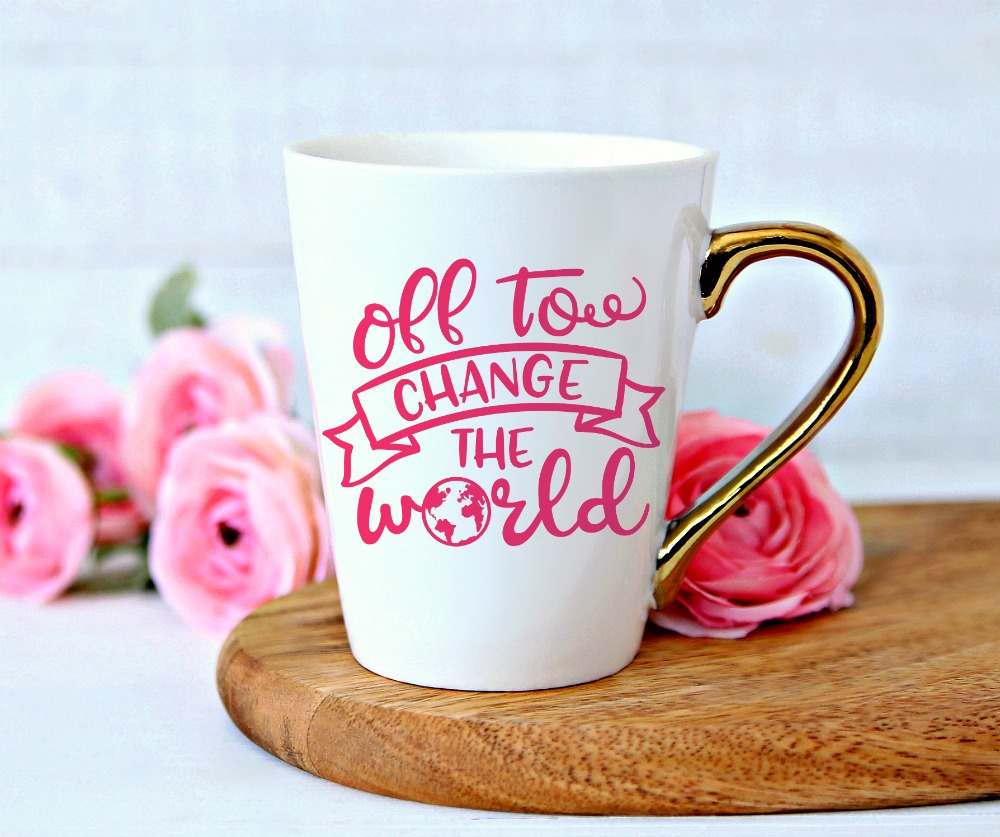 Off to Change the World on Mug Mock up