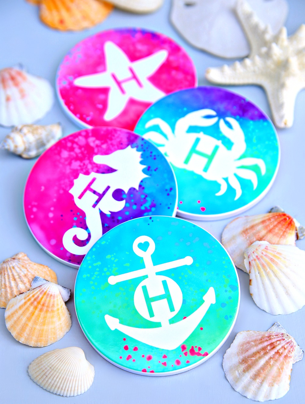 Personalized Beach Coasters using Cricut Infusible Ink
