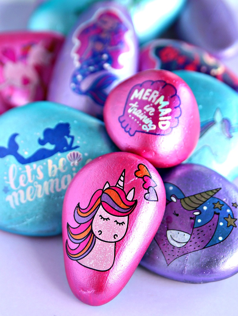 Unicorn painted rocks using temporary tattoos